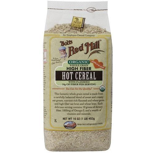 Bob's Red Mill Organic Whole Grain High Fiber Hot Cereal 16 oz Case of 4