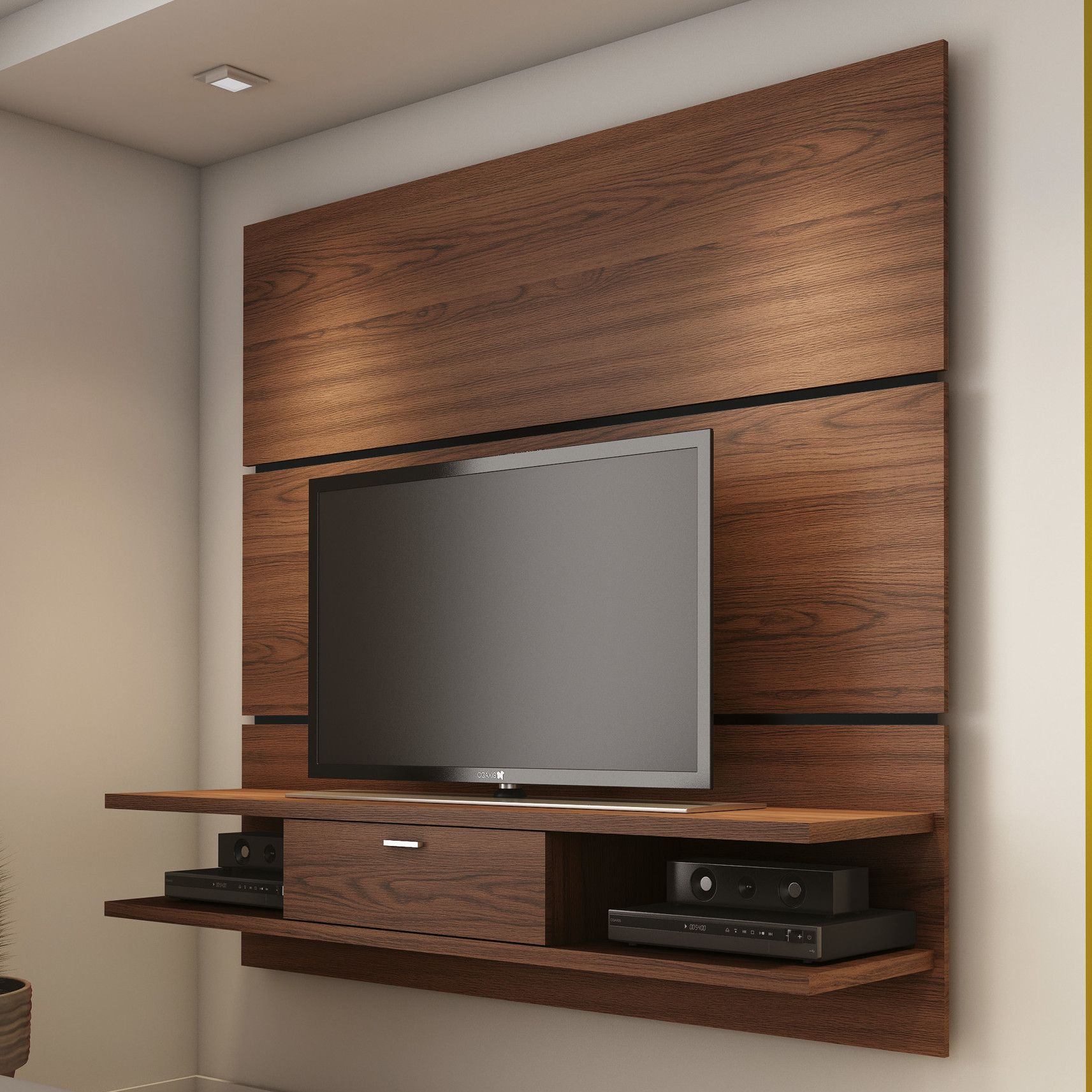 Small Bedroom Tv Unit Wooden Wall Mounted Tv Stand For