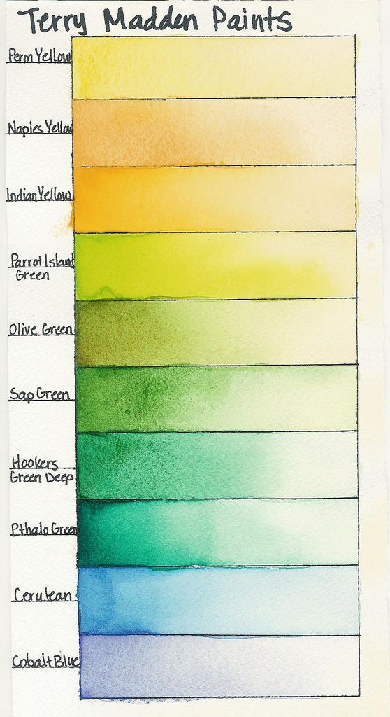 Colors From My Watercolor Palette Permanent Yellow Naples Parrot Island Green Olive Sap S Deep Pthalo Cerulean