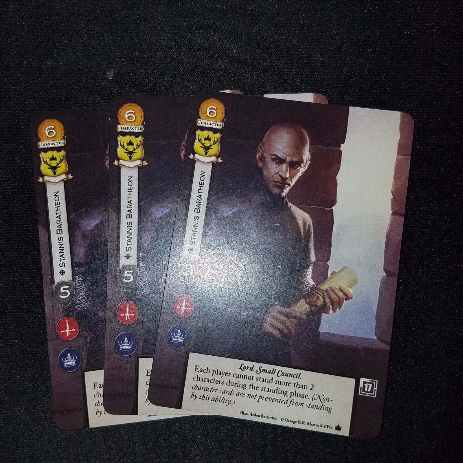A Game Of Thrones LCG 2.0 Stannis Baratheon promo card Set of 3