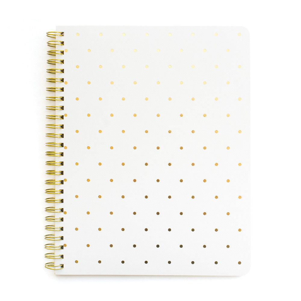 color white gold foil page type lined number of pages 50 dimensions 9 x 7 inches our perfect dot notebook in white is spiral bound with gold foil dots on