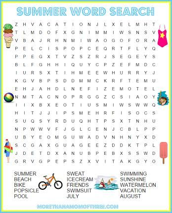 Word Search Summer Activity Printables Kids Word Search
