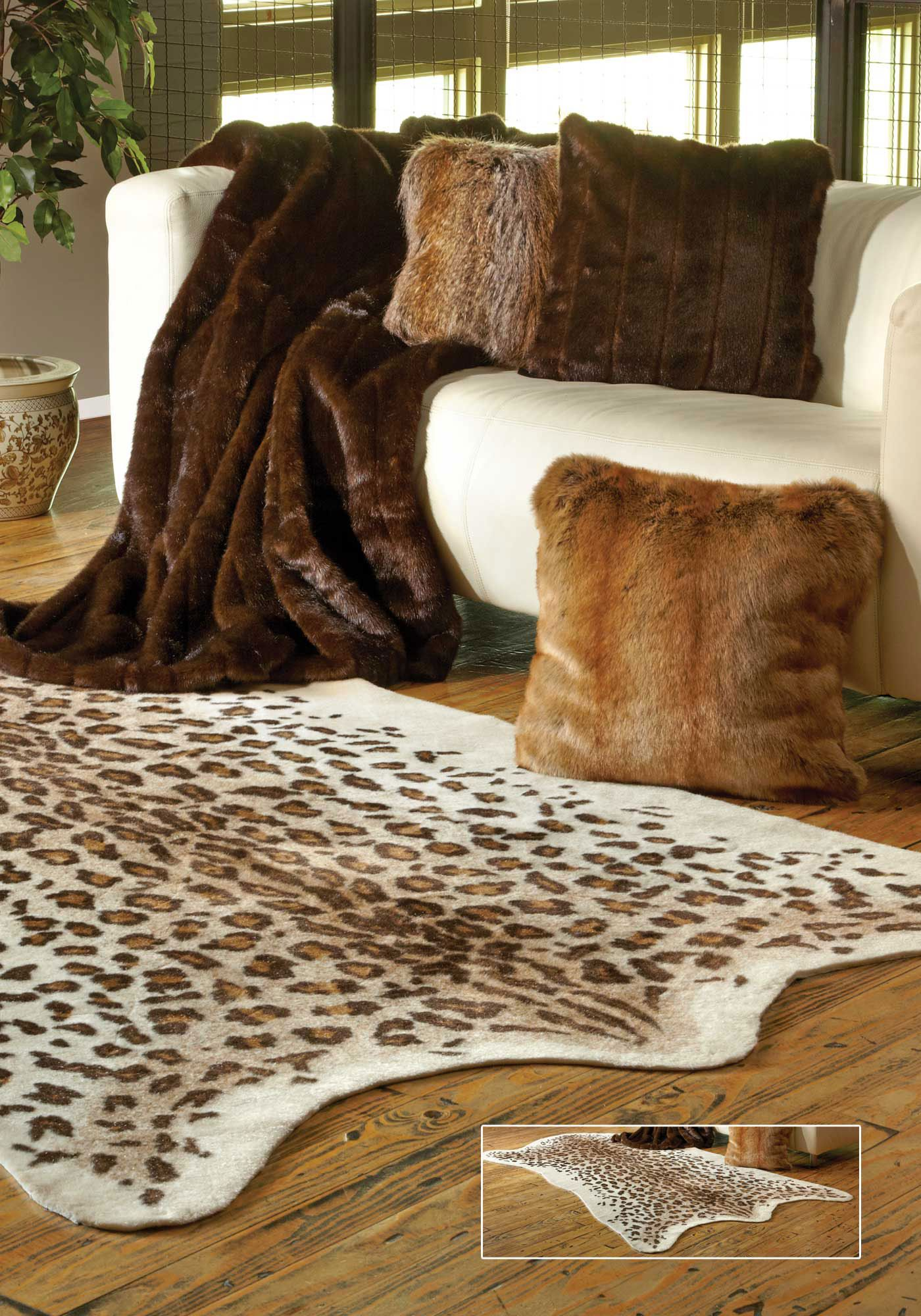 Faux Leopard Hide Rug 58