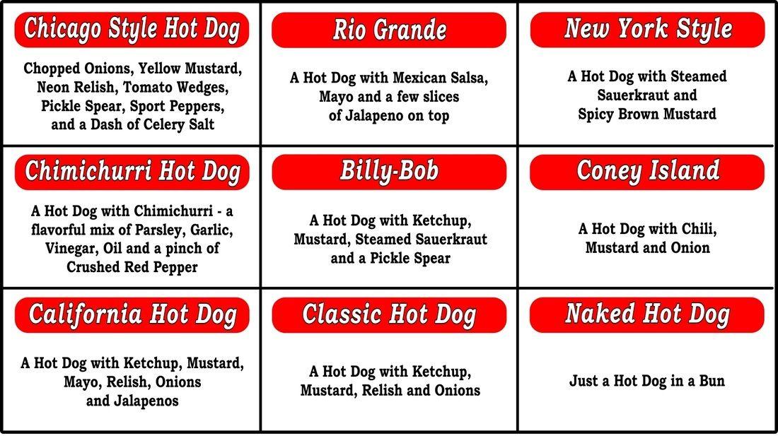 Hot Dog Cart Menu   MENU - Gourmet Mobile Hot Dog Cart Catering in California!