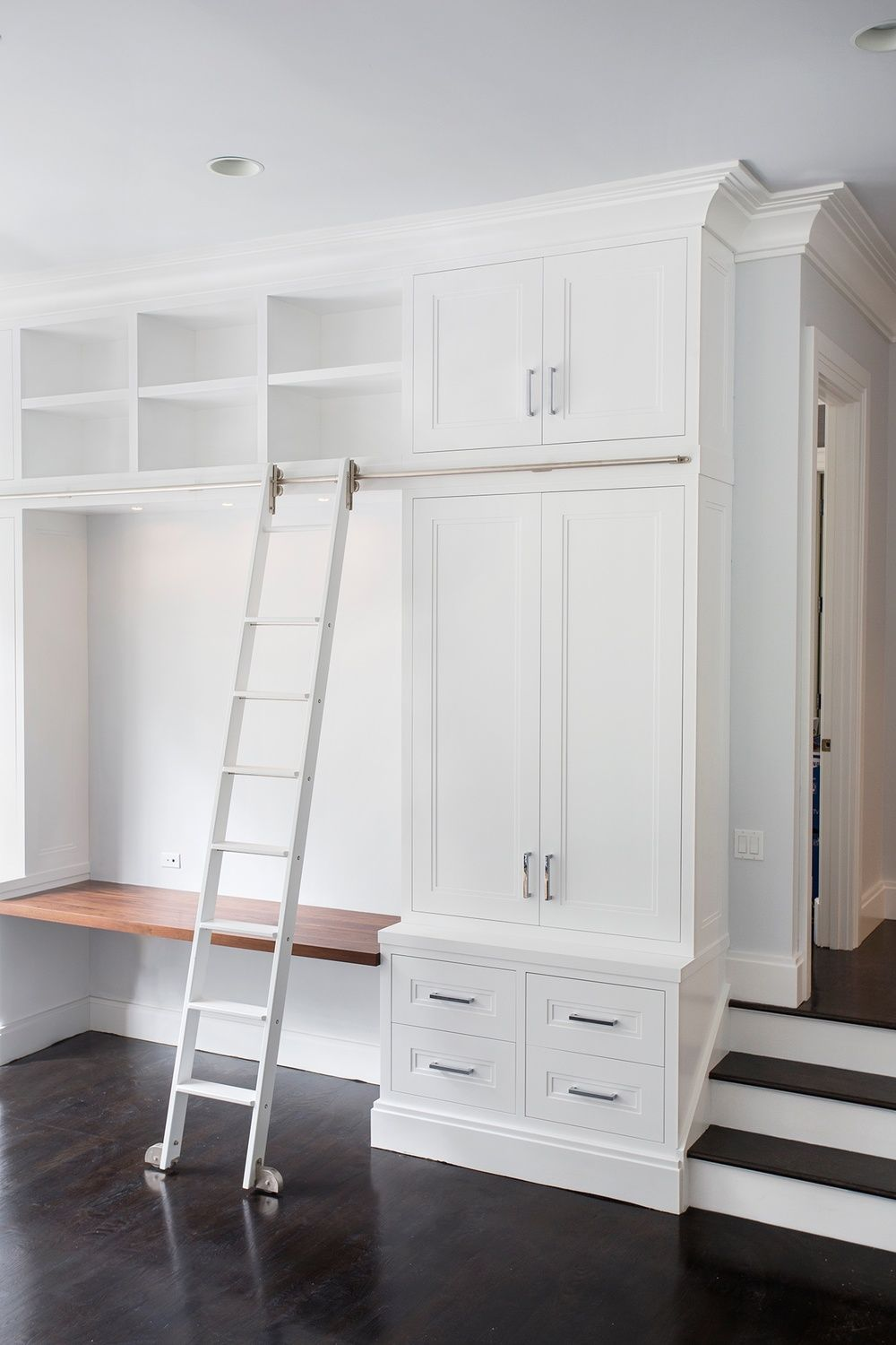 Painted Built-Ins With Rolling Ladder | woonkamer | Pinterest