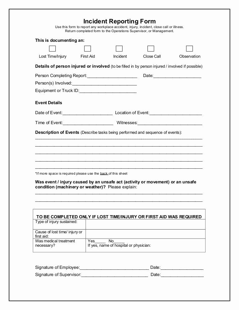 Accident Report Form New Incident Reporting Form Incident Report
