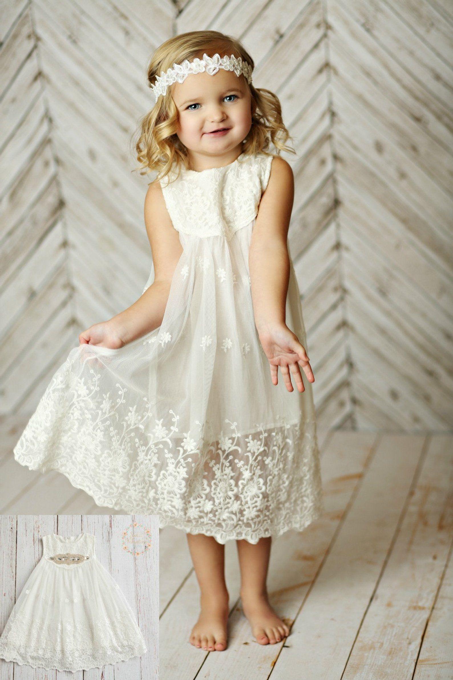 White Flower Girl Dress Girls Lace Dress Rustic Flower Girl Etsy Flower Girl Dresses Boho Rustic Flower Girl Dress Flower Girl Dress Lace
