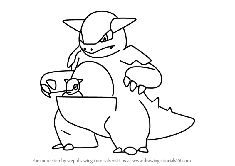 Learn How To Draw Kangaskhan From Pokemon Go Pokemon Go Step By Step Drawing Tutorials Pokemon Pokemon Go Drawings