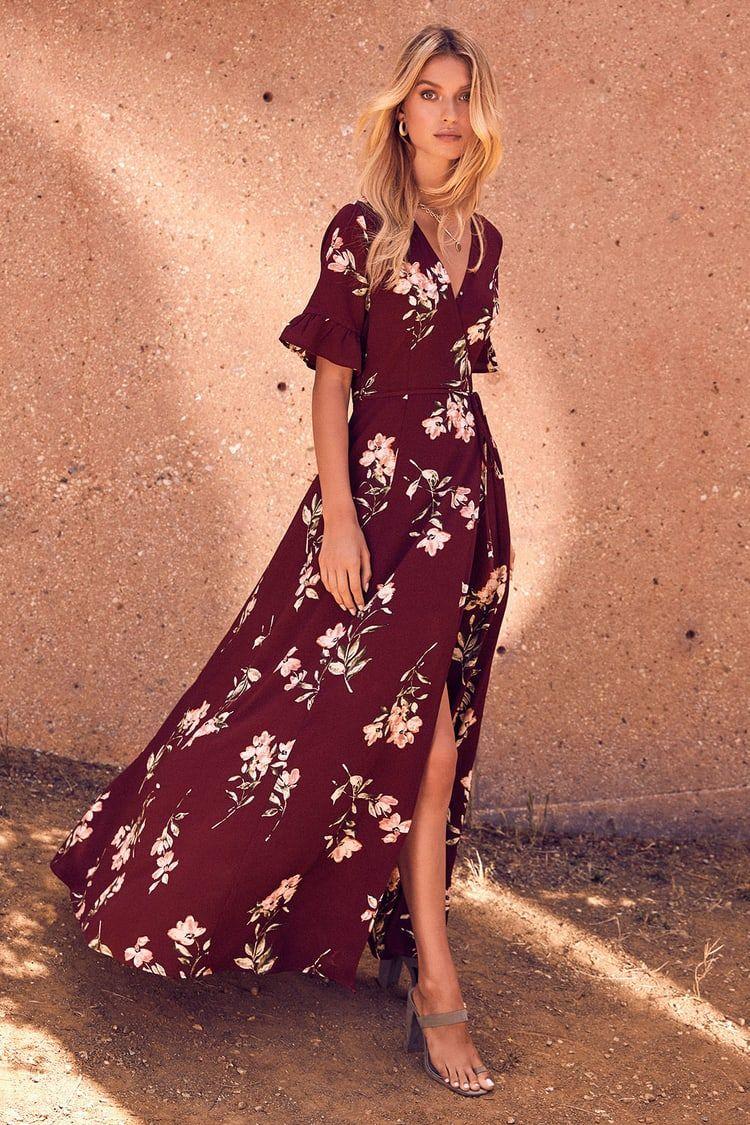 September Sunsets Burgundy Floral Print Wrap Maxi Dress In 2021 Burgundy Maxi Dress Floral Dress Black Red Floral Dress [ 1125 x 750 Pixel ]