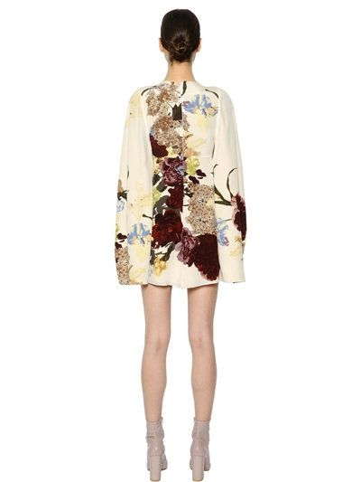 VALENTINO - FLORAL PRINTED SILK CREPE DE CHINE DRESS - DRESSES - BEIGE - LUISAVIAROMA