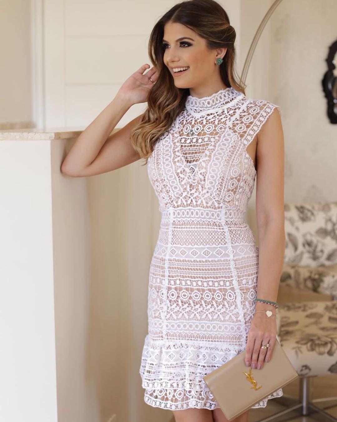 ddc0b61c3 Lindo vestido branco com renda | style | Vestidos, Roupas para ...