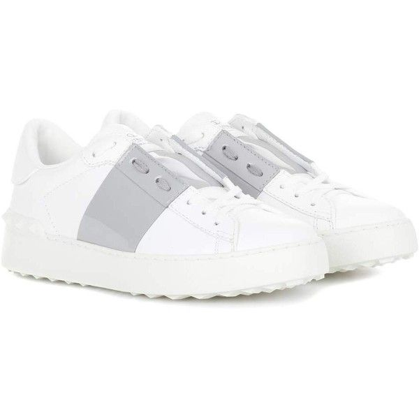 Valentino Valentino Garavani Open Leather Sneakers (1,100 BAM) ❤ liked on Polyvore featuring shoes, sneakers, white, white leather shoes, valentino trainers, genuine leather shoes, valentino shoes and leather footwear