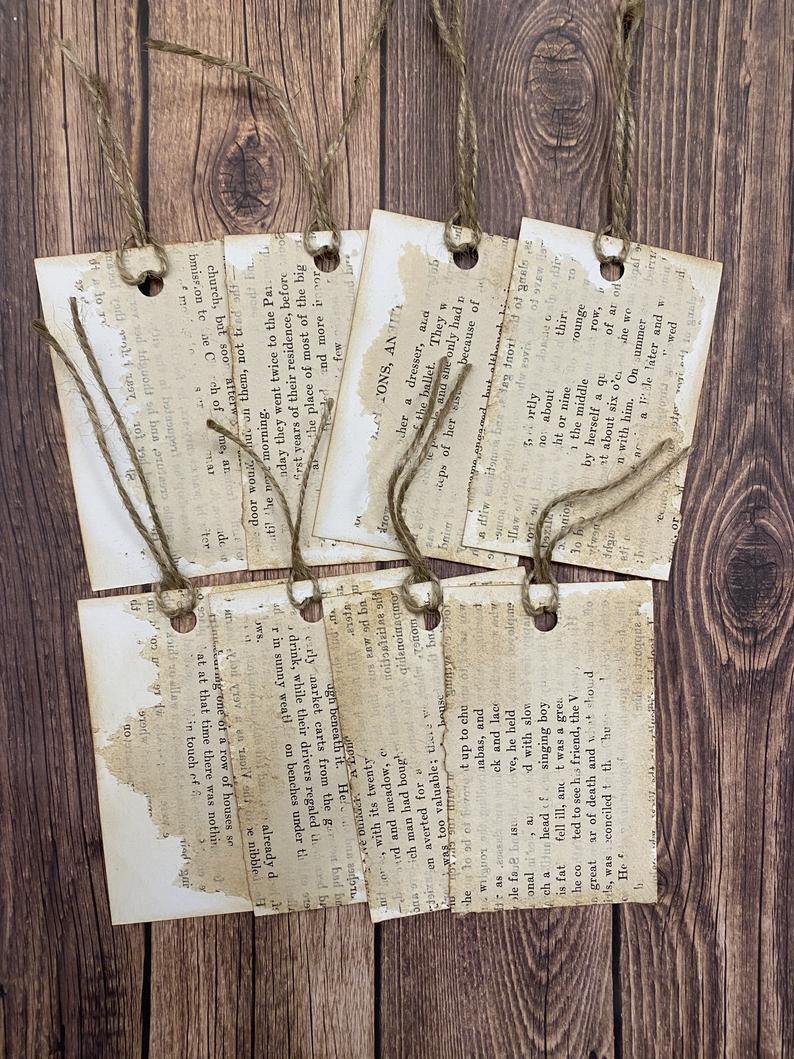 Old Book Paper Ephemera Tags Vintage Paper Tags Scrapbook Etsy In 2020 Paper Ephemera Vintage Paper Book Page Crafts