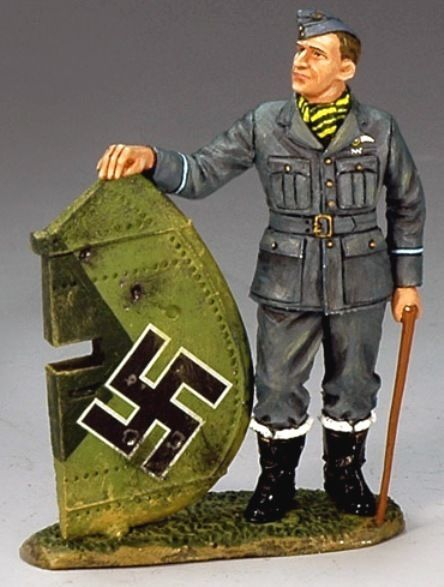 World War II British Royal Air Force RAF009 Flying Officer with Trophy - Made by King and Country Military Miniatures and Models. Factory made, hand assembled, painted and boxed in a padded decorative box. Excellent gift for the enthusiast.