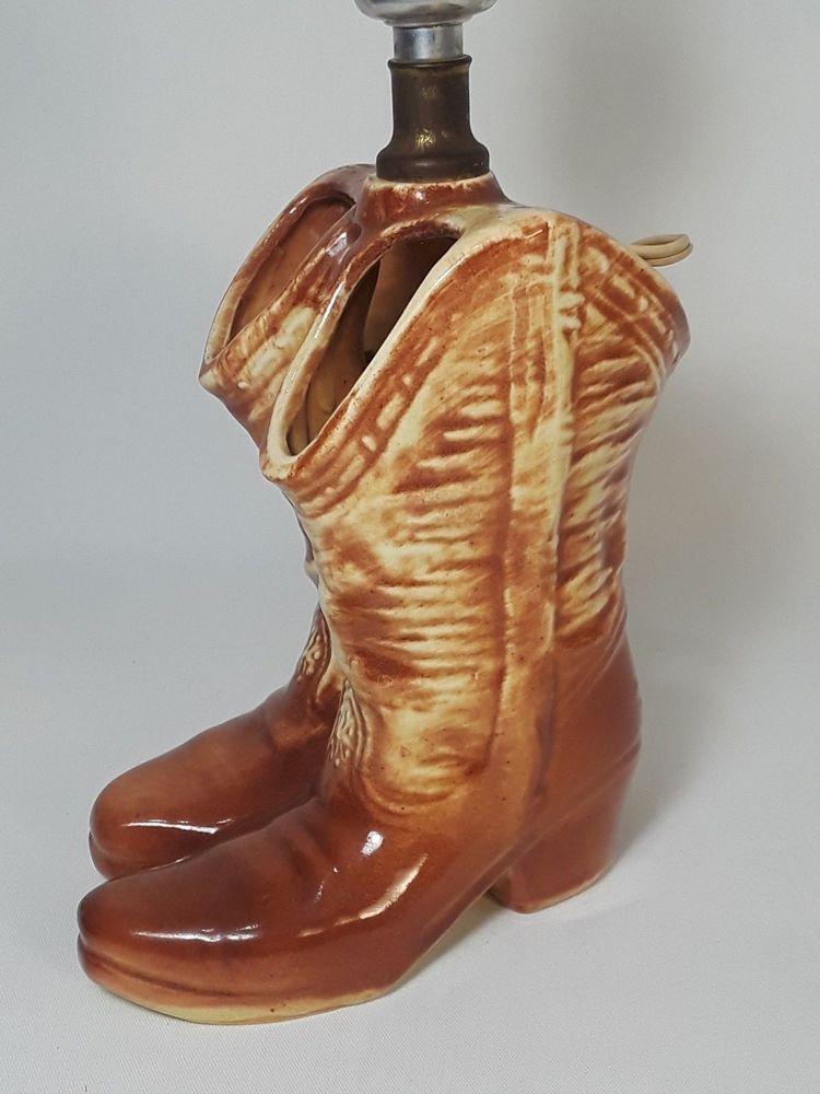 1950s Mccoy Usa Pottery Cowboy Boot 10 In Table Lamp Rare Wrking Light No Shade Pottery Vintage Pottery Light Bulb Lamp
