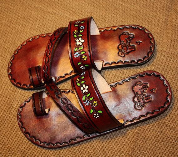 d0ea35a6b9019 Flowers Brown Leather Mexican Shoes-Flip Flops-Sandals-Hippie-BOHO- Tribal-  Shoes- Summer