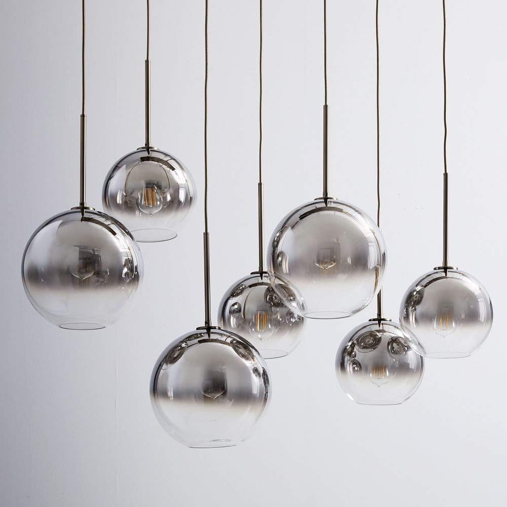 Sculptural Gl Globe 7 Light Chandelier Mixed Metallic