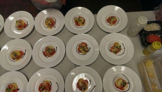 Tomato Salad, Basil Chiffonade, and Balsamic Reduction