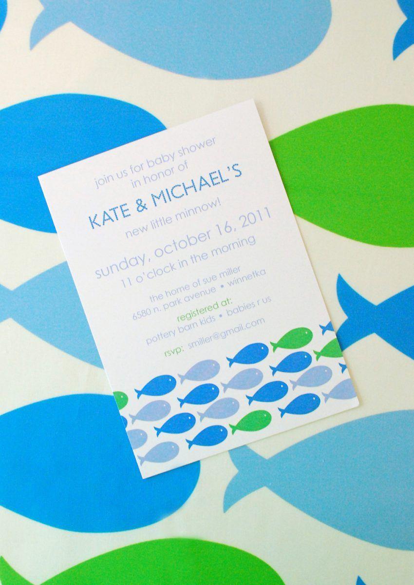 Modern Blue Fish Theme Baby Shower | Boy Baby Shower | Pinterest ...
