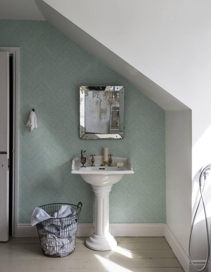 j 39 ose le papier peint dans ma salle de bains elle d coration d co pinterest papier peint. Black Bedroom Furniture Sets. Home Design Ideas