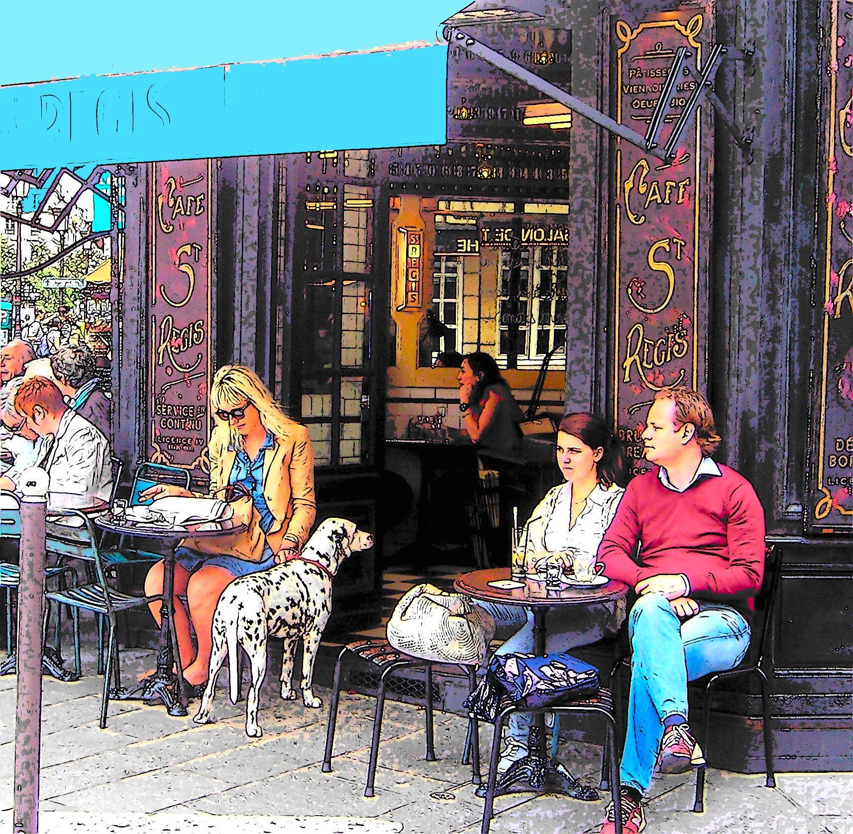French Bistro Decor Dalmatian At The Paris Cafe Paris Cafe Digital Art Photography