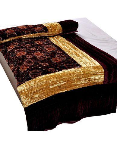 Jaipuri Maroon Jaipuri Double Bed Velvet Quilt, buy quilt online ... : quilt buy online - Adamdwight.com