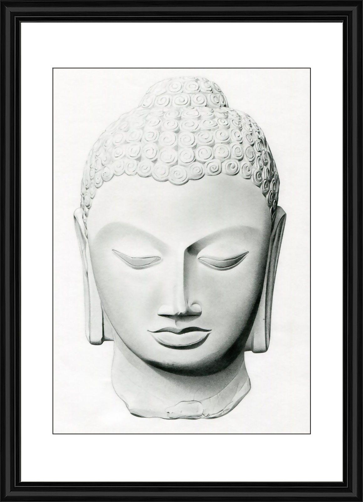 Buddha buddhist white stone statue framed art #print #picture, View ...