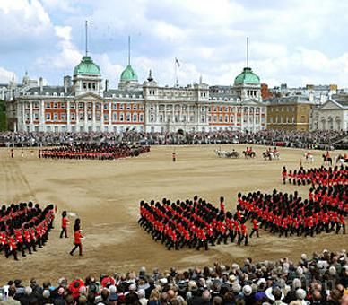 https://flic.kr/p/9SqcVN | Trooping the Colour on Horse Guards Parade | A view of Horse Guards Parade in London's Whitehall during the annual Trooping the Colour ceremony to mark The Queen's official birthday, 11 June 2011. © Press Association