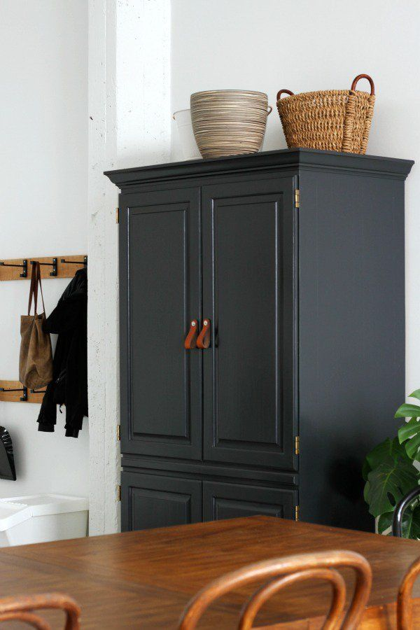 Superbe Used Pine Tv Armoire Painted Tri Corne Black, Leather Pulls Transform It To