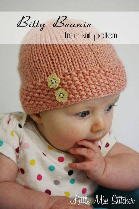 Little Miss Stitcher Bitty Beanie Free Knit Pattern Baby Stuff