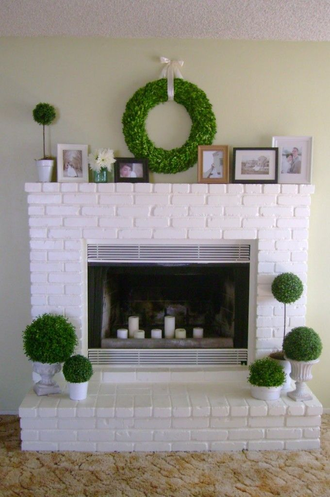 Fireplace Design painting brick fireplace white : An easy update to the 80's full brick wall fireplaces. You can ...