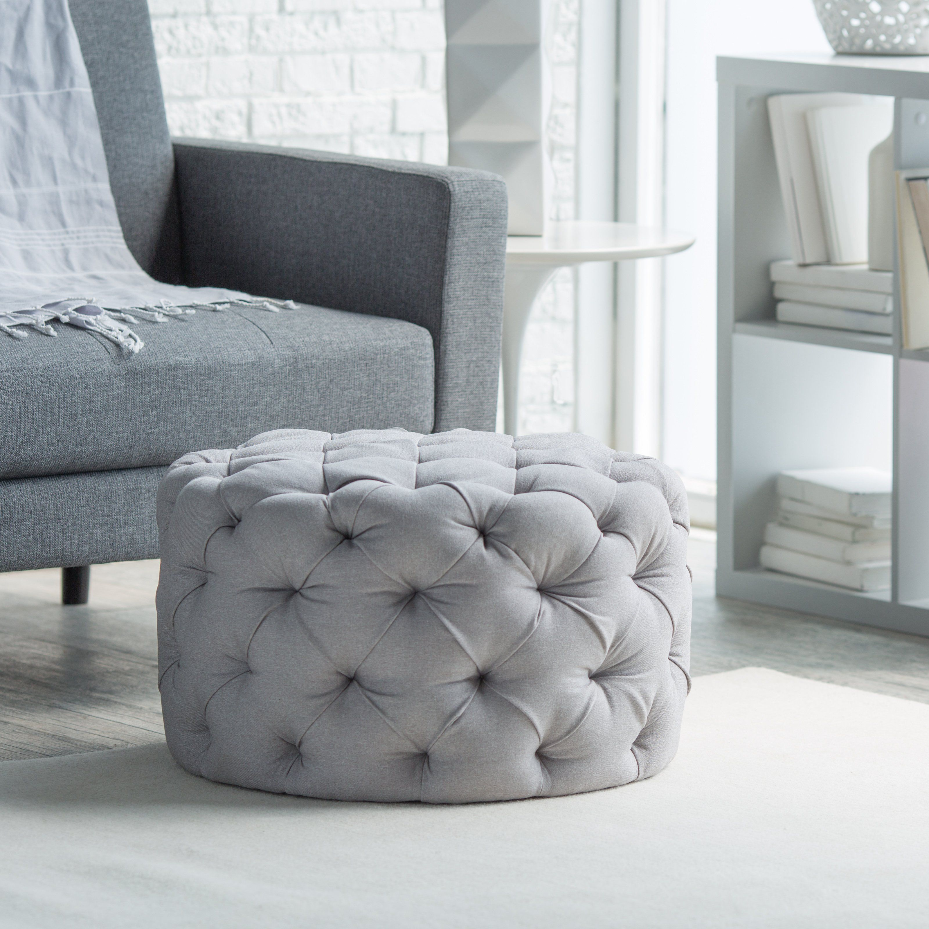 Belham Living Allover Tufted Round Ottoman Grey An all around