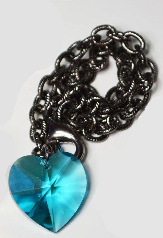 Blue heart shaped Swarovski charm bracelet for $30 on Etsy.