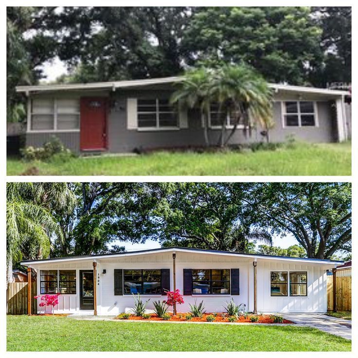 Ranch style house makeover: Before and after - Board and batten siding - Farmhouse style #boardandbattensiding Ranch style house makeover: Before and after - Board and batten siding - Farmhouse style #boardandbattensiding