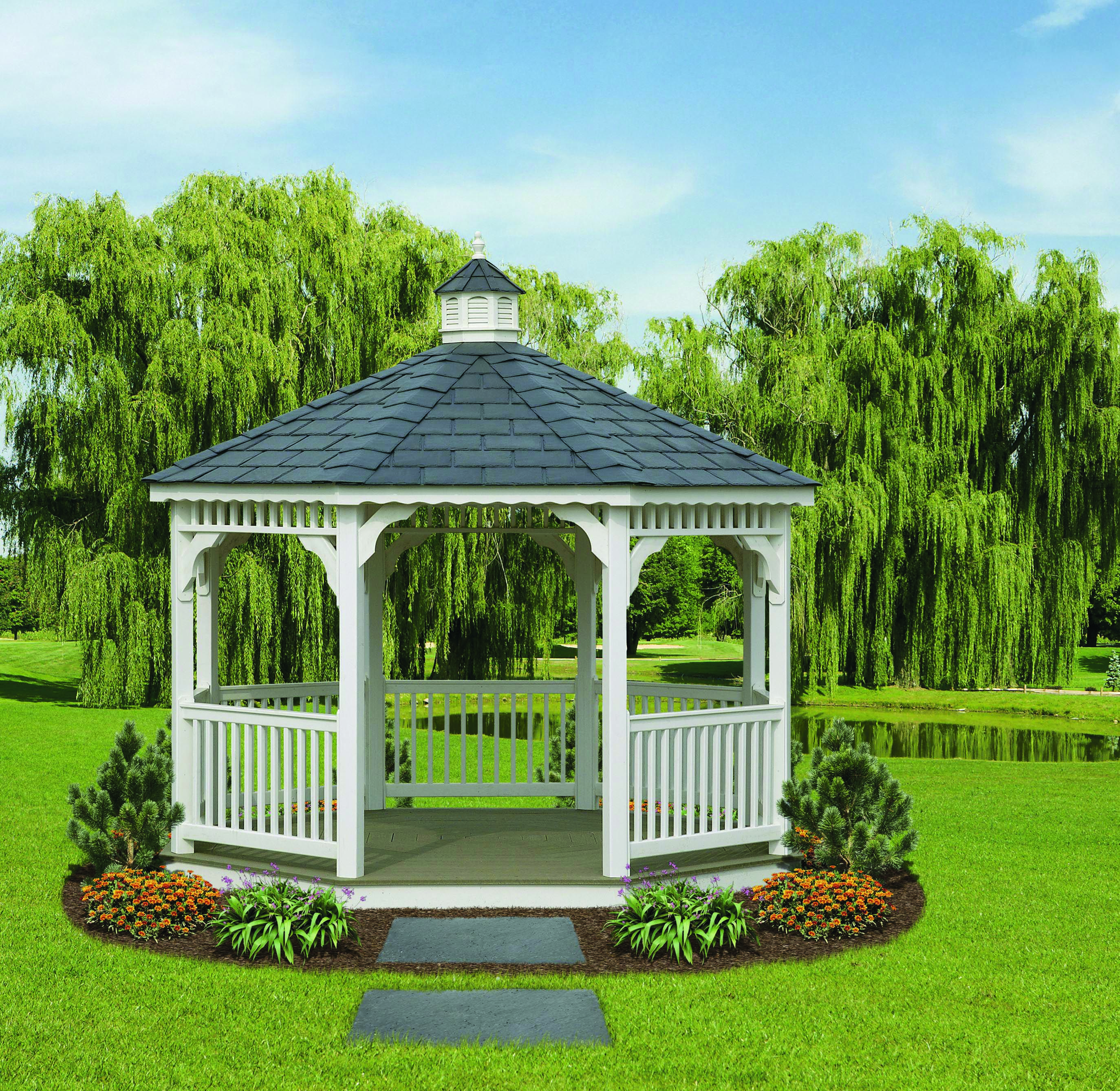 12 ' Octagon Vinyl Gazebo will create an outdoor living space for you to entertain your friends and families