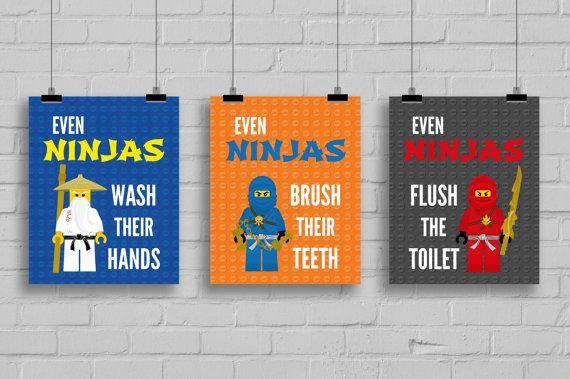Lego Ninjago Bathroom Prints Even Ninjas By Simplylovecreations 20 00 Bathroom Prints Prints Digital Art Printables