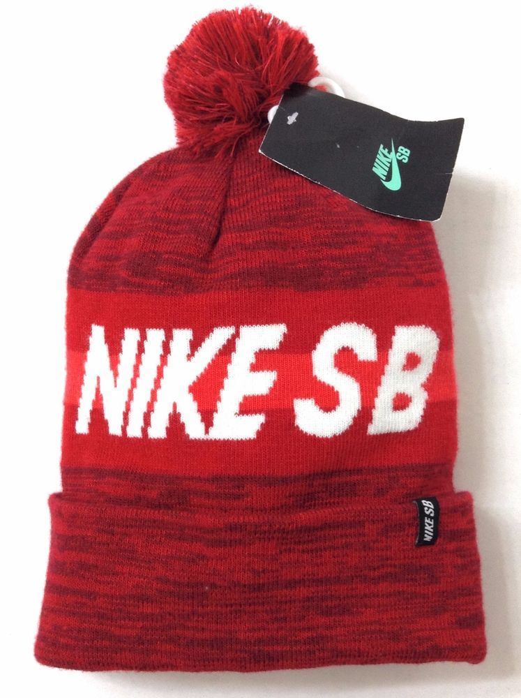 6744442a94f New NIKE SB SKATEBOARDING POM BEANIE Dark-Red White Winter Cuffed Knit Men  Women  Nike  Beanie