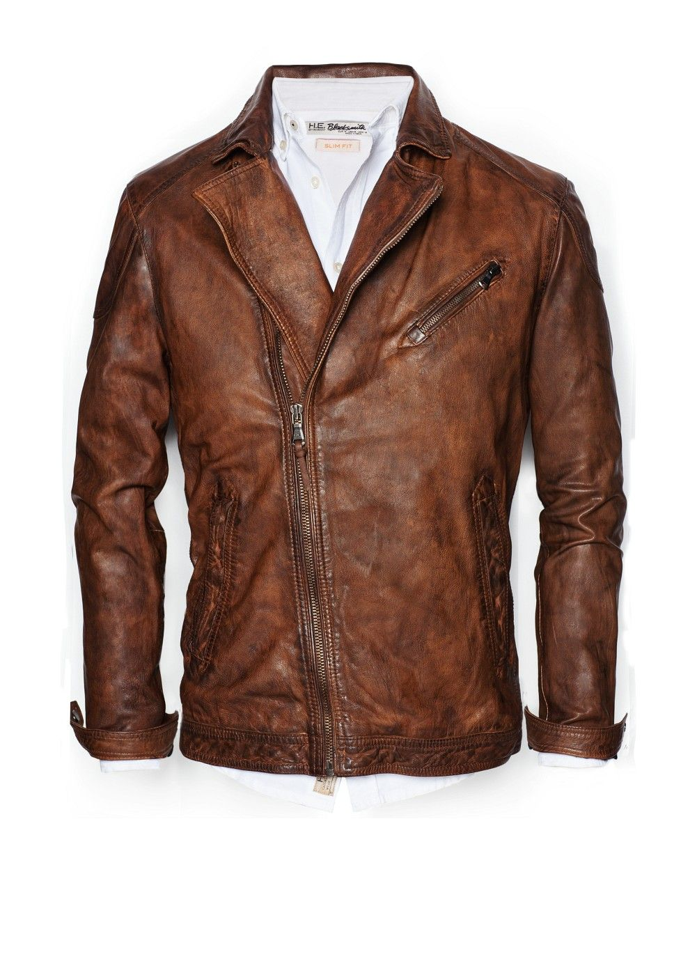 III-Fashions Mens Front Zipper Pocket Classic Vintage Brown Bomber Leather Jacket