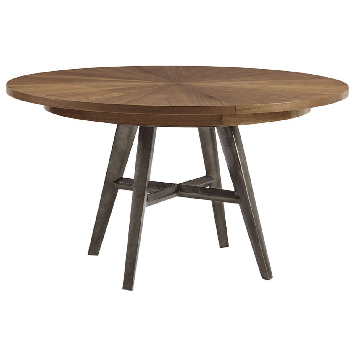 Caracole Bungalow Round Natural Walnut Dining Table Dining