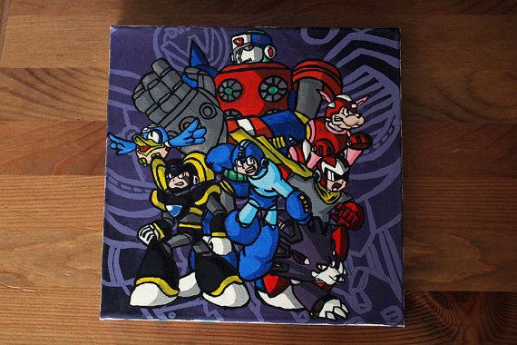 Megaman / Rockman Canvas Painting by MargaritaMakes on Etsy