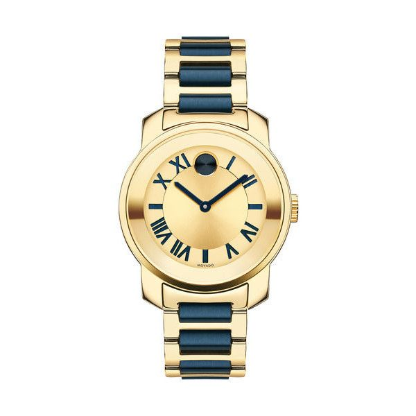 Movado Bold Yellow Gold Dial Two-tone Ladies Watch ($310) ❤ liked on Polyvore featuring jewelry, watches, analog wrist watch, gold jewellery, dial watches, gold wrist watch and two tone watches