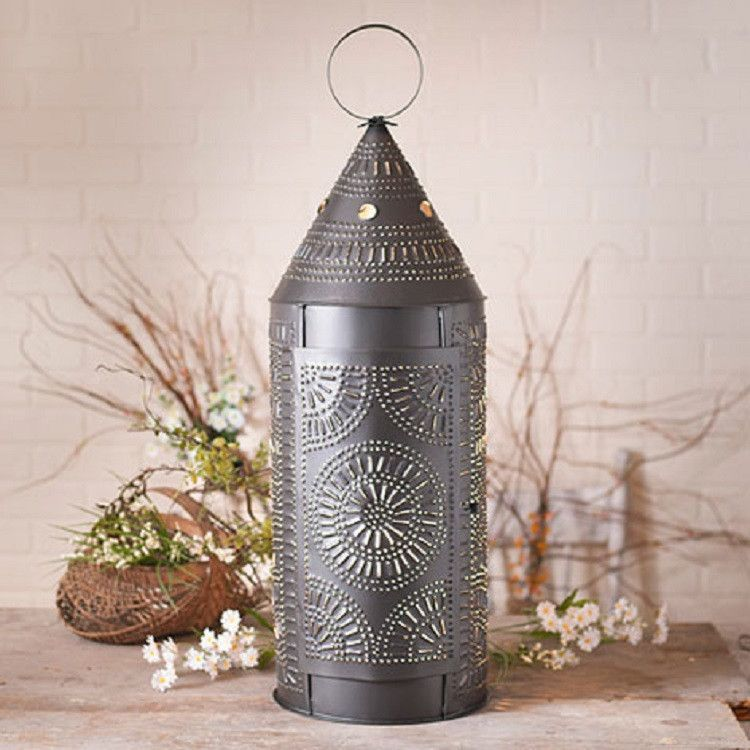 32 large punched tin lantern smokey black colonial light with chisel pattern