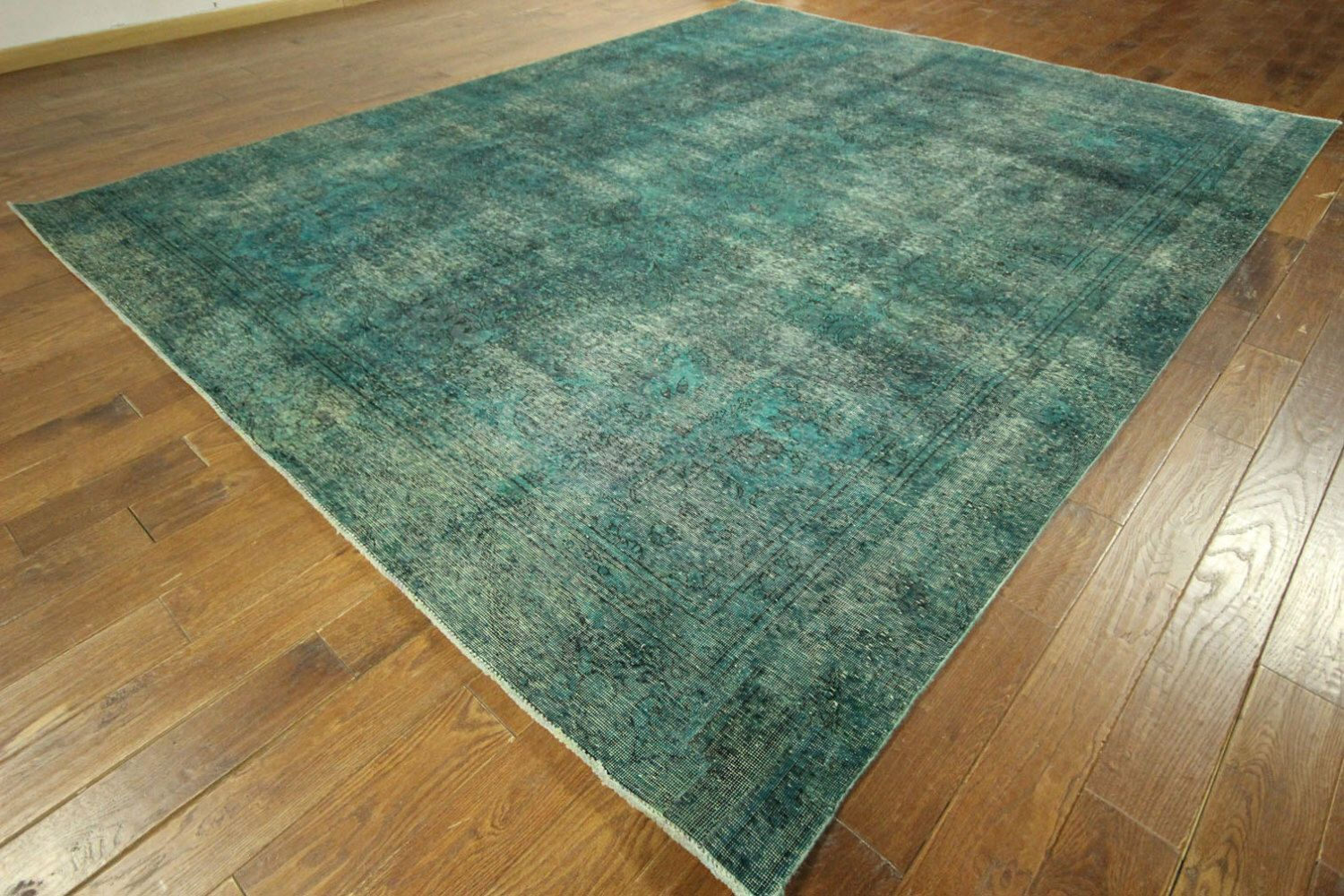 New Handmade Blue Oriental Overdyed Hand Knotted 9'x12' Floral Wool Area Rug H7381 by manhattanrugs on Etsy https://www.etsy.com/listing/226698800/new-handmade-blue-oriental-overdyed-hand