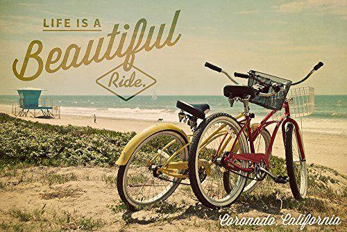 Coronado, California - Life is a Beautiful Ride - Beach Cruisers (24x36 Giclee Print Wall Decor, Wall Decor Poster) Lantern Press http://www.amazon.com/dp/B00UNN90LE/ref=cm_sw_r_pi_dp_8XbPvb1JN27H8