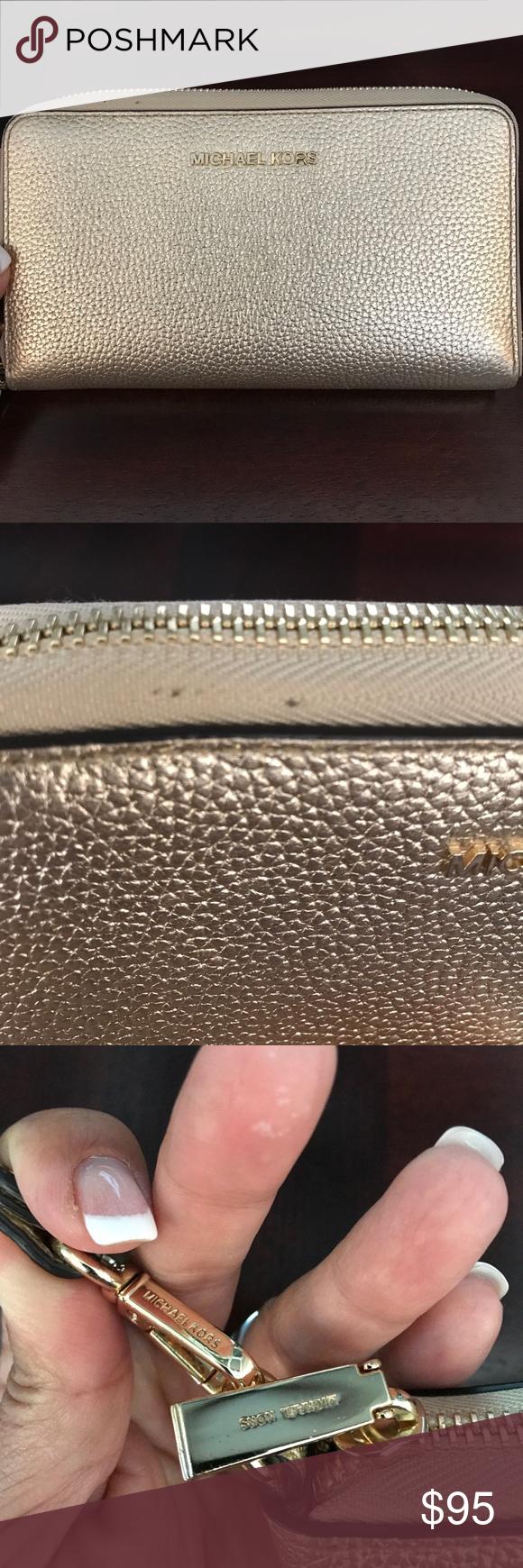 93e612fd26294 Michael Kors Gold Wallet   Phone Wristlet MICHAEL Michael Kors Mercer Large  Metallic Leather Smartphone Wristlet