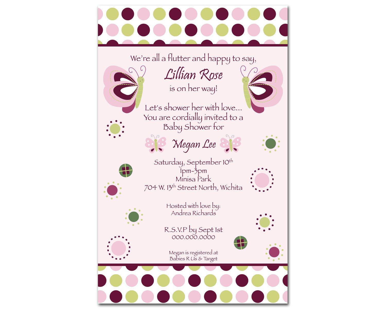 24 printed raspberry swirl butterfly girl baby shower