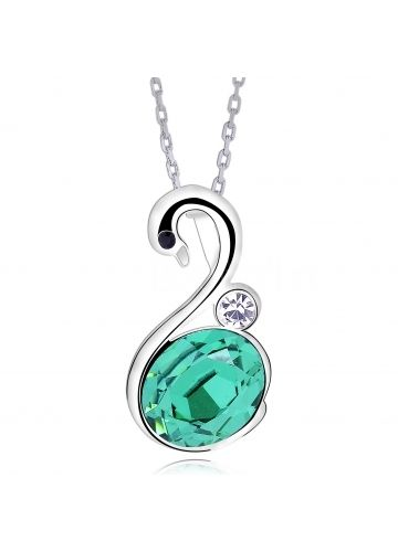 Charming Necklace With Green Austria Crystal Swan Pendant