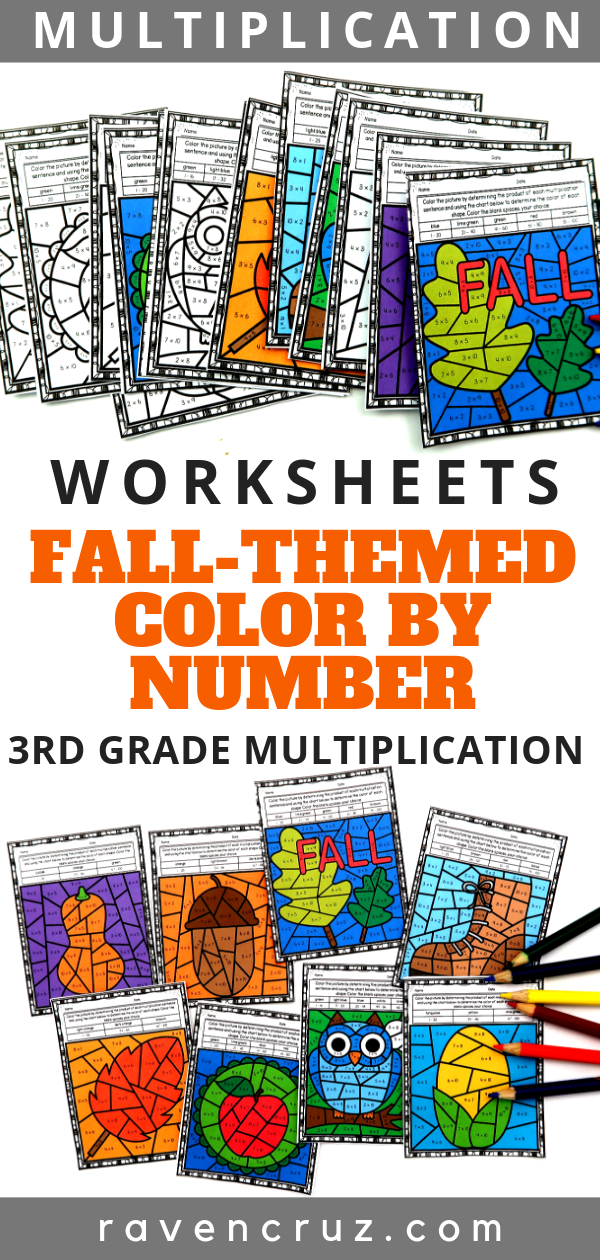 Fall Math Multiplication Color by Number Worksheets | Fall ...