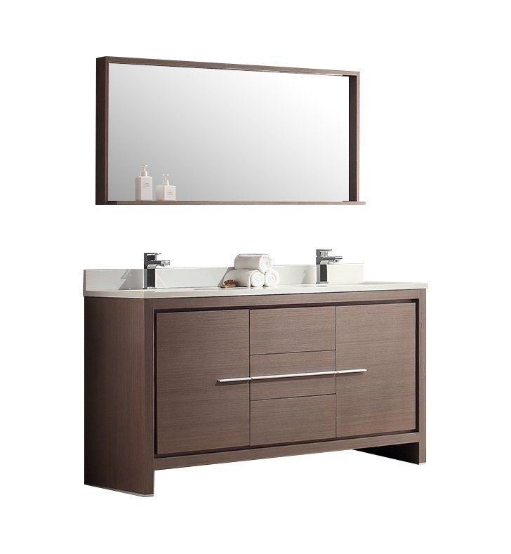 Allier 60 Double Modern Bathroom Vanity Set With Mirror Vanity
