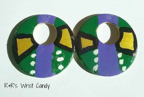 Tribal Hand Painted Wood Earrings by RandRsWristCandy on Etsy, $6.00